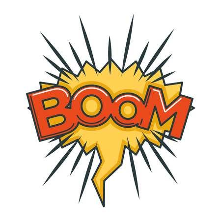 Boom sound visualization in speech bubble in shape of burst vector illustration Illustration
