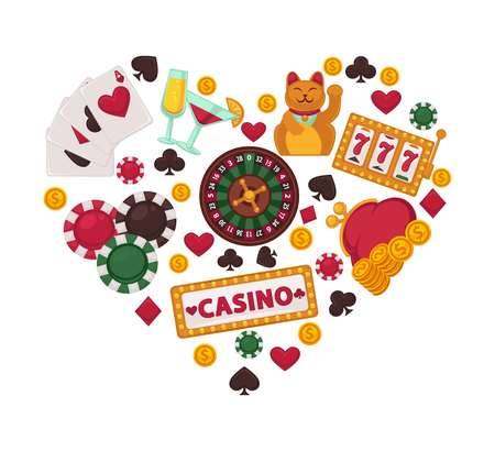 Casino gambling equipment set collected in heart shape vector illustration Illustration