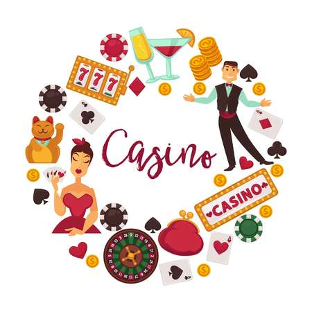 Casino emblem with male staff and female player and gambling equipment vector illustration