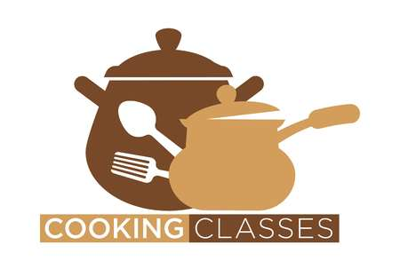 Cooking classes promotional emblem with cookware and utensils