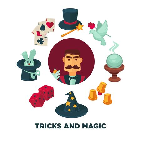 Trick and magic promotional poster with magician and equipment Stock Photo