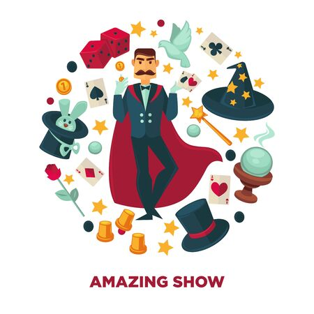 Amazing show promotional poster with magician and equipment Stock Photo