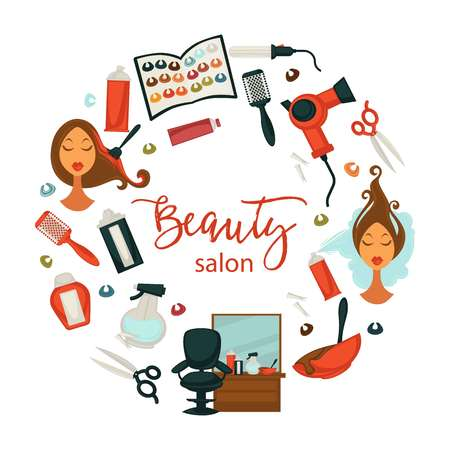 Hair beauty or woman hairdresser salon poster for professional hair dyeing,