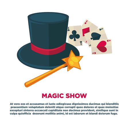 Magic show advertisement banner with tall hat and play cards Stock Photo