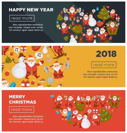 Merry Christmas and Happy New Year 2018 Internet posters with cheerful Santa Claus with bag full of present