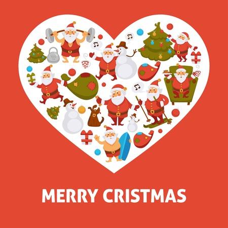 2018 heart poster of cartoon Santa, snowman and dog