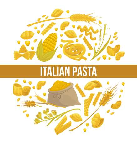 Exquisite delicious Italian pasta advertisement poster with pastry products vector illustration