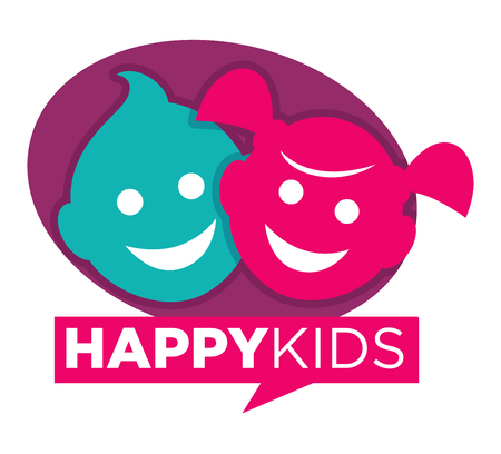 Kids zone icon template of child palm hands and speech bubble with color letters. Vector icon for kindergarten or children playground and education school classroom or family entertainment place Illustration