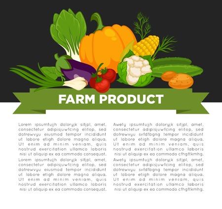Organic vegetables food poster background template for dietary vegetarian eating or vegan diet.