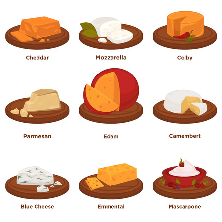 Delicious exquisite cheeses on round wooden treys collection.
