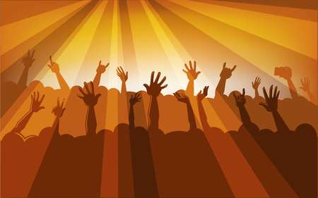 Human silhouettes in massive crowd with raised hands that hold modern devices in colorful neon spotlights at concert cartoon flat vector illustration.