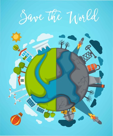 Save world agitation poster with globe divided in half. Illustration
