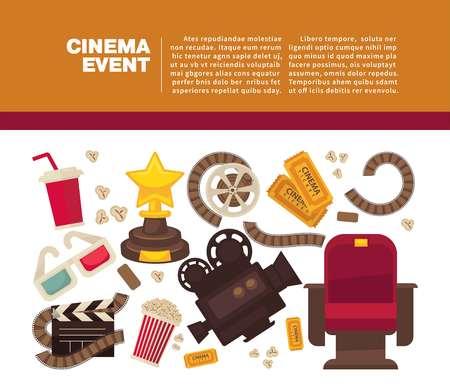 Cinema advertisement banner with symbolic cinematographic equipment