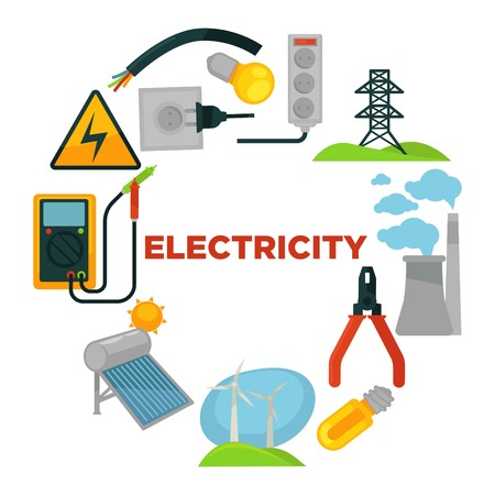 Electricity word with toolkit surrounded with electricity sources and tools. Illustration