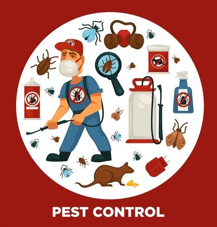 Plantilla de cartel de información de empresa de servicio de exterminio o control de plagas para desinfección doméstica sanitaria.