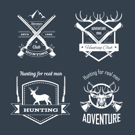 Hunting club or hunt adventure  templates set. Illustration