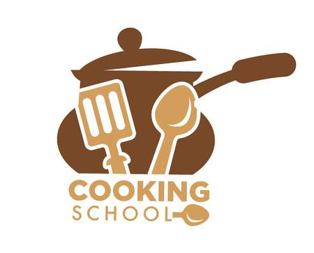 Cooking school promotional emblem with saucepan and cutlery Vectores