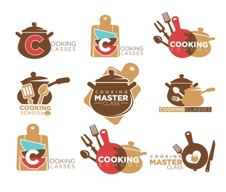Cooking classes promotional emblems set with saucepans and cutlery