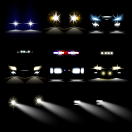 Car powerful lights in darkness. Front headlights of common and police vehicles with various shape and range of brightness and color isolated realistic vector illustrations set on black background. Vectores