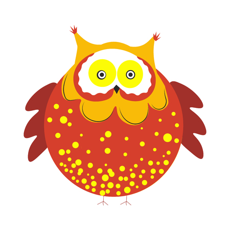 Huge round owl with brown dotted plumage with tiny tassels on head, short wings and small claws isolated cartoon flat vector illustration on white background. Funny bird with bright feathers.