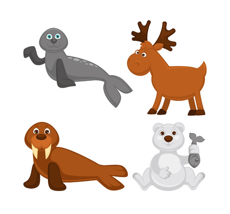Adorable animals from cold countries and North Pole. Grey fur seal, moose with branchy horns, walrus with sharp tusks and white bear that holds fish isolated cartoon flat vector illustrations set. Illustration