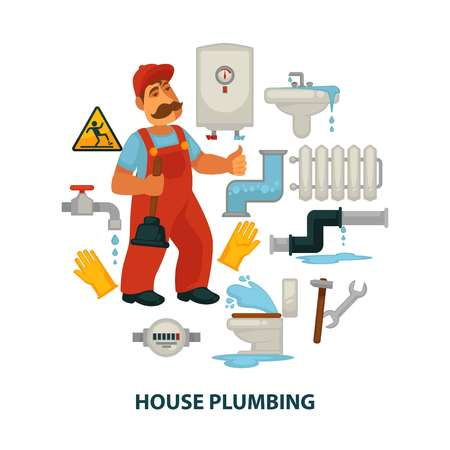 House plumbing promotional poster with plumber and broken sanitary engineering Vectores