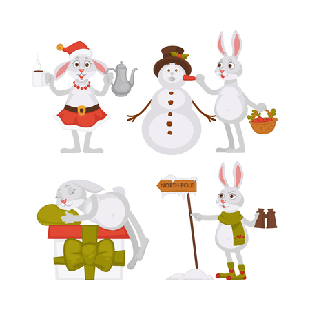 Adorable Christmas rabbits and funny snowman in tall hat Illustration