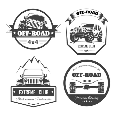 Off-road 4x4 extreme car club logo templates. Vector symbols and icons of off road car or truck with wheel tires.
