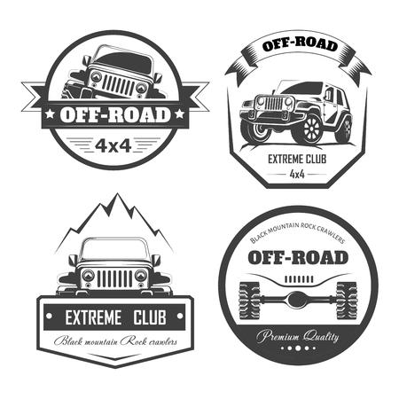Offroad 4x4 Extreme Car Club Logo Vorlagen. Vector Symbole und Ikonen des Autos oder des LKWs nicht für den Straßenverkehr mit Radreifen. Logo