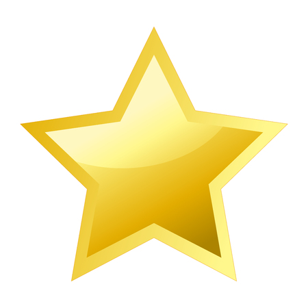 Shiny bright golden five pointed star Иллюстрация