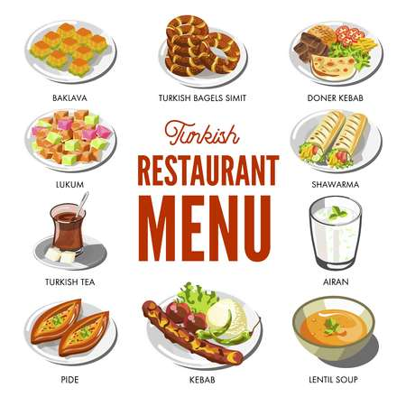 Turkish cuisine food and traditional dishes Illustration