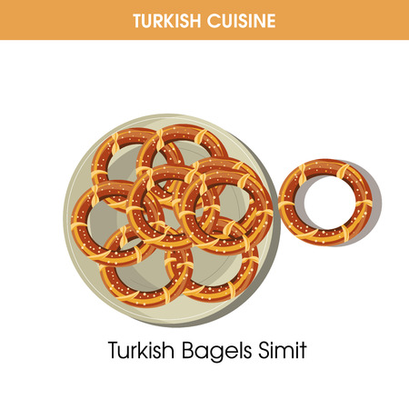 Turkish Bagels Simit on plate from traditional national cuisine isolated cartoon flat vector illustration on white background. Dish made of dough sprinkled with sesame in shape of circle with whole.