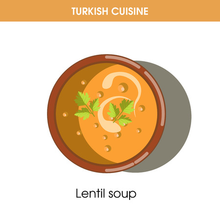 Creamy Lentil soup in bowl from Turkish cuisine Illustration