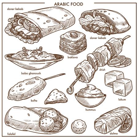 レストランメニューテンプレートのためのアラブ料理スケッチアイコン。ドナーケバブ、ババ・ガナッシュまたはシシ肉、バクラバとロクムペスト