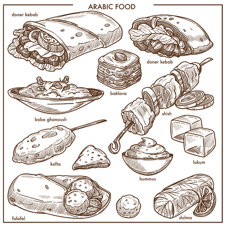Arab cuisine sketch icons for restaurant menu template. Vector Arabic traditional dishes of doner kebab, baba ghanoush or shish meat, baklava and lokum pastry, falafel, sandwich and hummus or dolma 写真素材 - 93446727