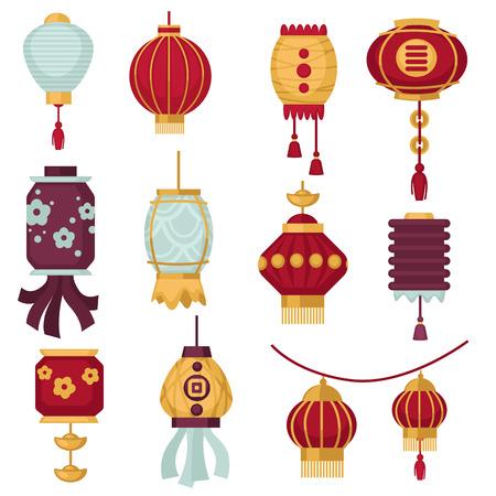 Chińskie lampiony lub tradycyjne chińskie dekoracje z czerwonego papieru na festiwal noworoczny. Wektor izolowane ikony papierowych lampionów z hieroglifem kaligrafii lub kwiatowy wzór i frędzlami