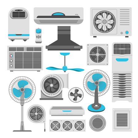 Air conditioners and fans or air purifiers humidifiers vector flat icons set Stock Illustratie