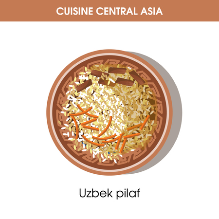 Uzbek pilaf on plate from Central Asian cuisine isolated cartoon flat vector illustration on white background. Asian spicy dish made of boiled rice and stewed nutritious meat with organic carrots.