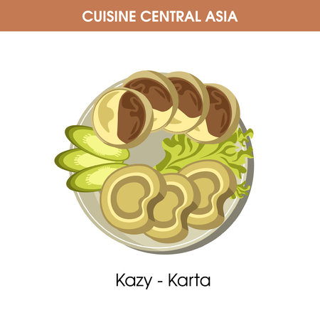Kazy-Karta dish on plate from Central Asian cuisine