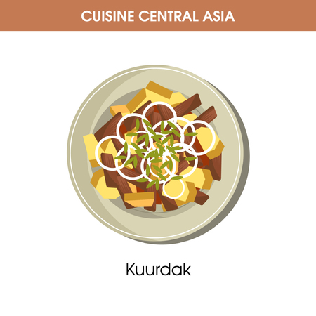 Delicious Kuurdak on plate from Central Asian cuisine