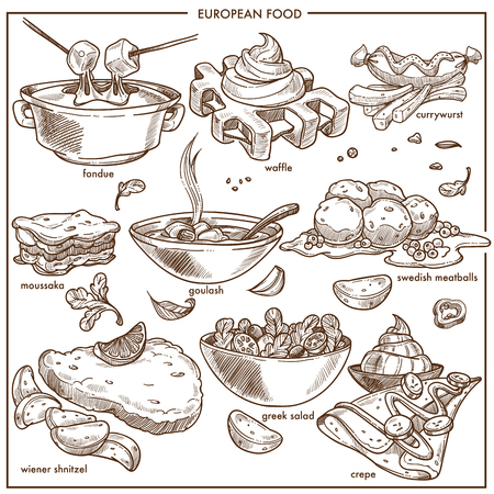 European cuisine food dishes for menu vector sketch icons templates