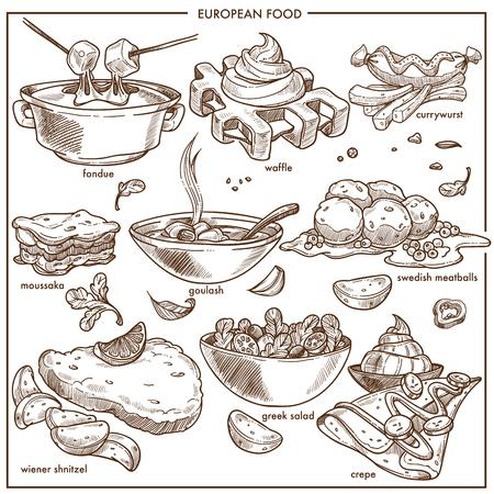 plats de cuisine de la cuisine européenne pour les icônes vectorielles de menu gâteau