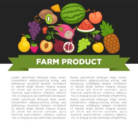 Organic fruits poster of healthy food and farm berries vector illustration