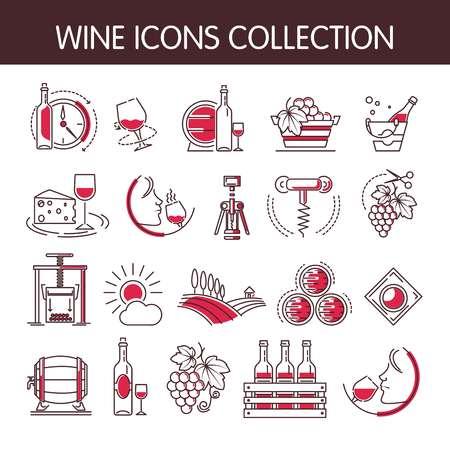 De vectorinzameling van wijnpictogrammen die voor wijn het maken of de industrie van wijnproducties wordt geplaatst. Geïsoleerde wijnmakerij wijnglas of fles en kurkentrekker opener, sommelier drankje en wijnstok vintage met druivenmost in wijnpers