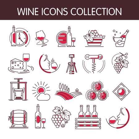 Wine icons vector collection set for wine making or wine productions industry. Isolated winery wine glass or bottle and corkscrew opener, sommelier drink and vine vintage with grape in wine press
