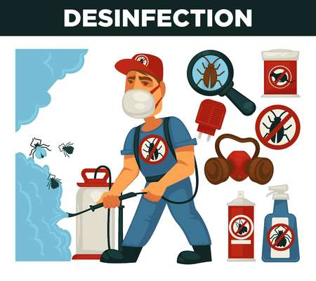 Extermination or pest control service and sanitary domestic disinfection vector flat design poster. Disinfector man with disinfectant liquid or gas spray against mouse rats, cockroaches and mite insects Vectores
