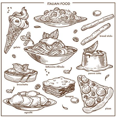 Kuchnia włoska szkic dania pizza, makarony, mięso i deser zestaw ikon wektorowych Ilustracje wektorowe