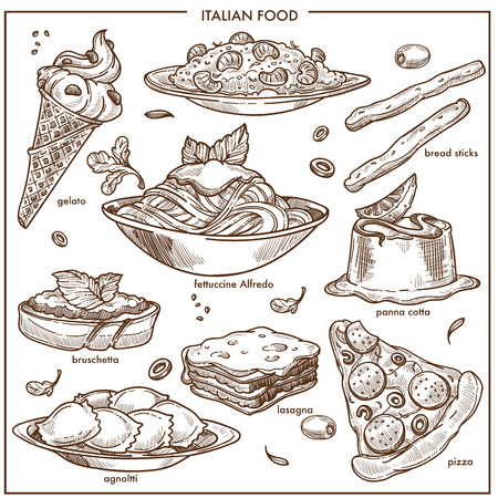 Italian cuisine sketch dishes pizza, pasta, meat and dessert vector icons set Vettoriali