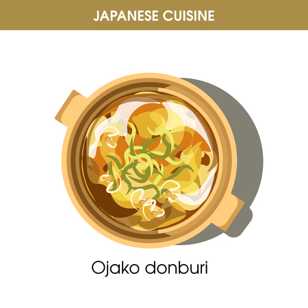 Ojako donburi dish in saucepan from Japanese cuisine
