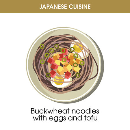 Buckwheat noodles with eggs and tofu from Japanese cuisine